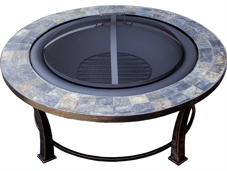 AZ Patio Heaters 40'' Round Slate Top Wood Burning Firepit