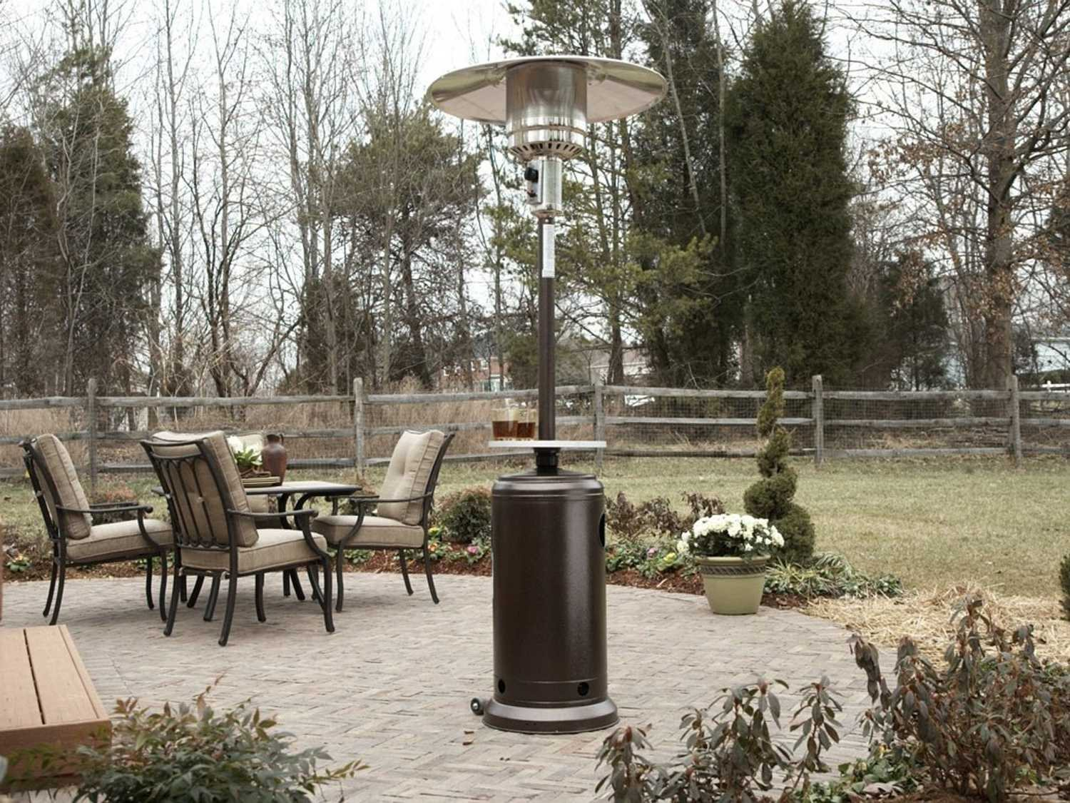 AZ Patio Heaters 87u0027u0027 Tall Hammered Silver Patio Heater With Table