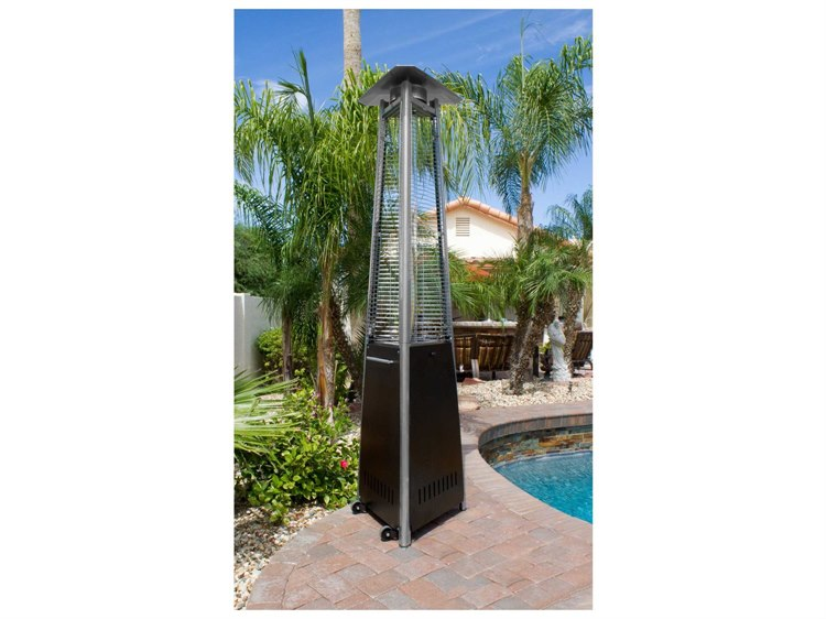AZ Patio Heaters Commercial Natural Gas Hammered Bronze Glass Tube Heater