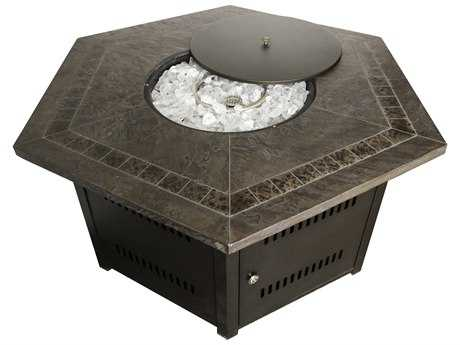 AZ Patio Heaters Hexagon Firepit- Faux Stone Top