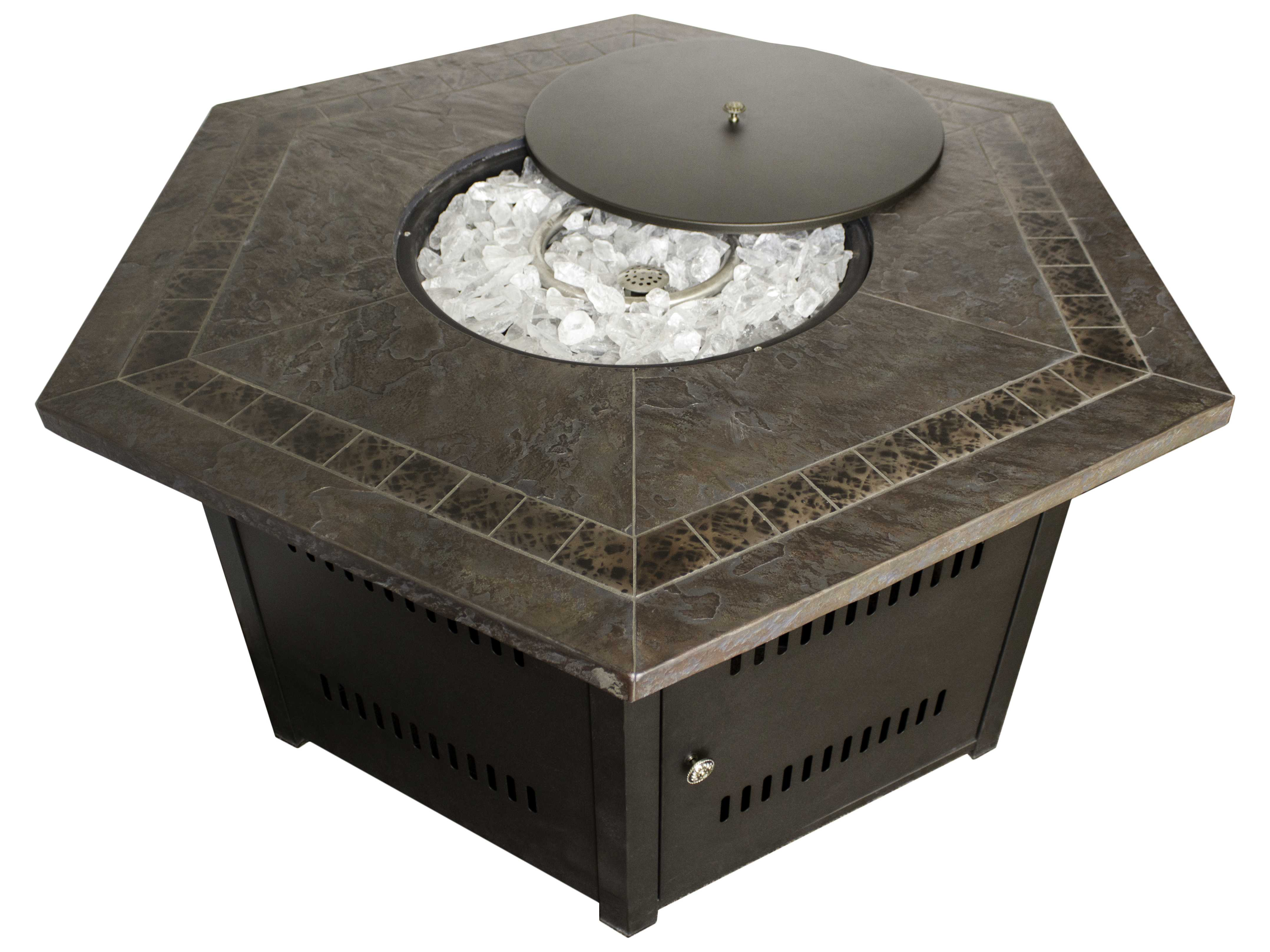 Az patio heaters hexagon firepit faux stone top azwlfhex for Az patio heaters fire pit