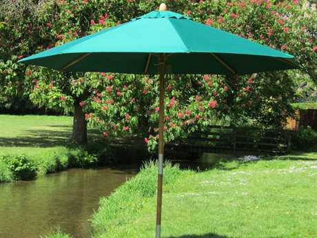Bambrella Sirocco Wood 8.5' Round Pulley Lift Umbrella - In Red Only