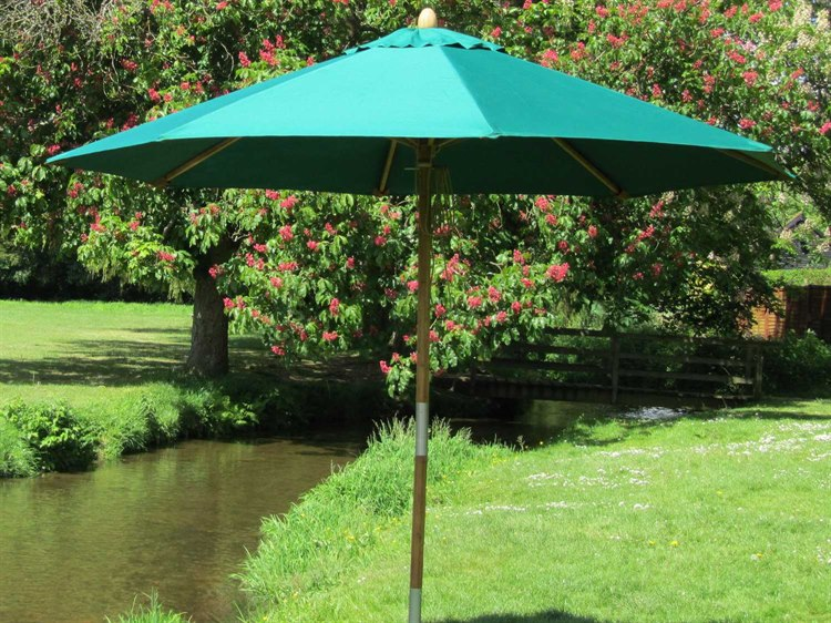 Bambrella Sirocco Wood 8.5' Round Pulley Lift Umbrella - In Red Only PatioLiving