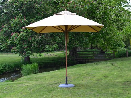 Bambrella Levante Wood 8.5' Square Pulley Lift Umbrella