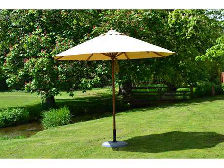 Bambrella Levante Wood 10' Round Pulley Lift Umbrella with 2 Inch Pole