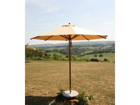 Bambrella Levante Wood 10' Round Pulley Lift Umbrella with 1.5 Inch Pole