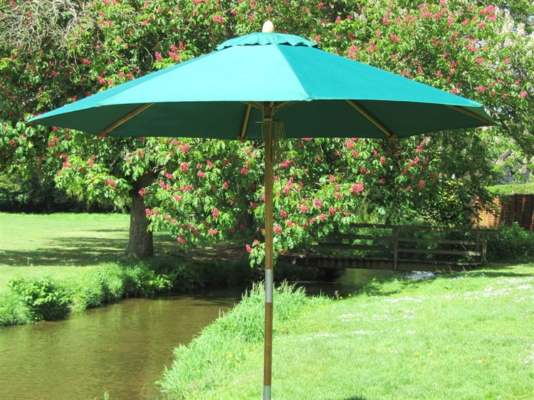 Bambrella Sirocco Wood 10' Round Pulley Lift Umbrella PatioLiving