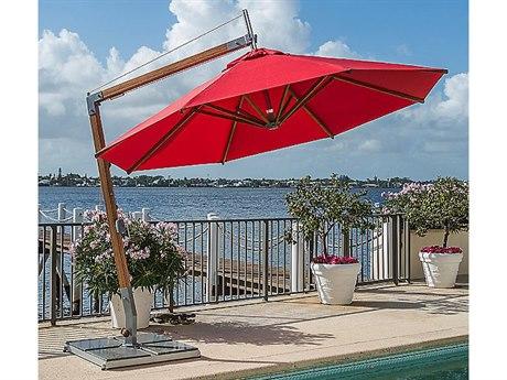 Bambrella Sirocco 10' Round Sidewind Crank Lift Manual Tilt Cantilever Umbrella