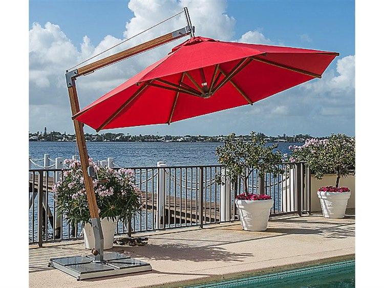 Bambrella Sirocco 10' Round Sidewind Crank Lift Manual Tilt Cantilever Umbrella PatioLiving
