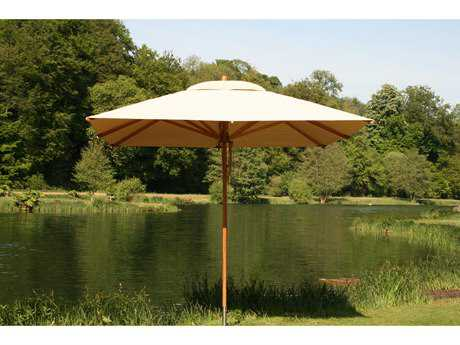 Bambrella Levante Wood 10' Square Pulley Lift Umbrella