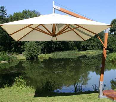 Bambrella Levante Sidewind 10' Square Crank Lift Manual Tilt Cantilever Umbrella