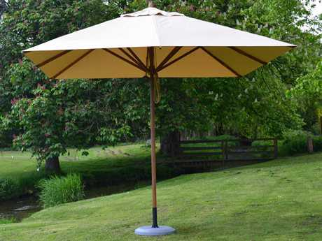 Bambrella Levante Wood 11' Square Pulley Lift Umbrella