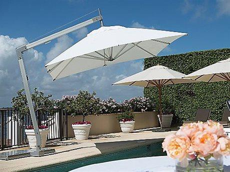 Bambrella Hurricane 11' Square Sidewind Crank Lift Manual Tilt Cantilever Umbrella