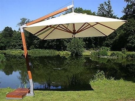 Bambrella Levante Sidewind 11' Square Crank Lift Manual Tilt Umbrella