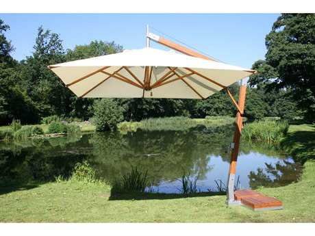 Bambrella Side Wind Wood 11.5' Round Crank Lift Offset Umbrella