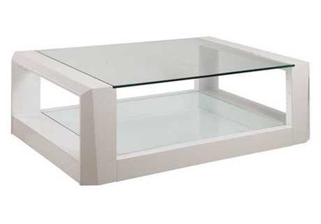 Bassett Mirror Thoroughly Modern 32 x 52 Rectangular White Cristobal Cocktail Table