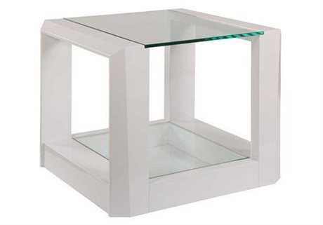 Bassett Mirror Thoroughly Modern 24 x 28 Rectangular White Cristobal End Table