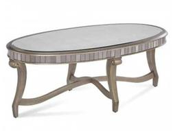 Bassett Mirror Hollywood Glam 24 x 48 Oval Real Silver Leaf & Antique Mirror Celine Cocktail Table