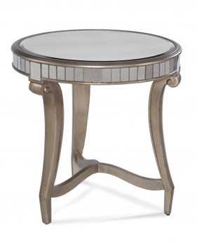 Bassett Mirror Hollywood Glam 24 x 24 Round Real Silver Leaf & Antique Mirror Celine Round End Table