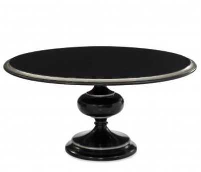 Bassett Mirror Hollywood Glam 60 Round Black & Silver Leaf Covington Round Dining Table