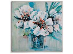Bassett Mirror Thoroughly Modern Flowers in White Painting