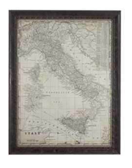 Bassett Mirror Belgian Modern Antique Map of Italy Wall Art