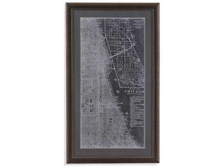 Bassett Mirror Belgian Luxe Graphic Map of Chicago Painting