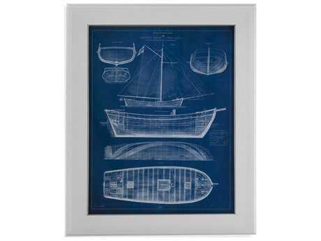 Bassett Mirror Pan Pacific Antique Ship Blueprint II Painting