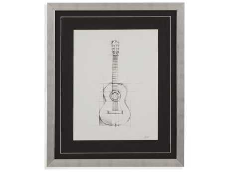 Bassett Mirror Thoroughly Modern Guitar Sketch Painting