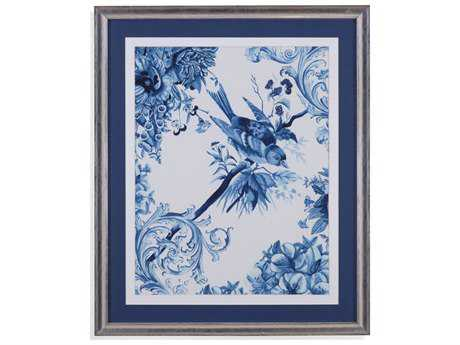 Painting Bassett Mirror Hollywood Glam ''Bird & Branch in Indigo II'' Painting