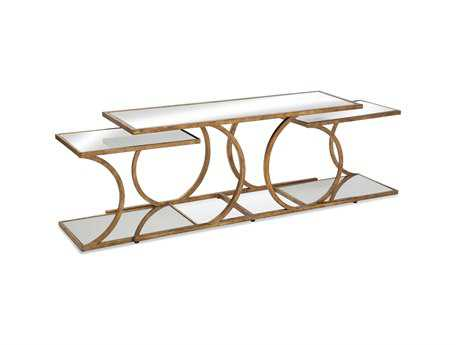 Bassett Mirror Thoroughly Modern 14 x 44 Rectangular Gold Clement Nesting Cocktail Table
