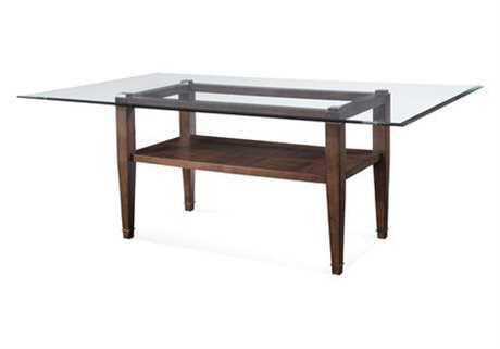Bassett Mirror Thoroughly Modern 44 x 76 Rectangular Walnut Dunhill Oak Parquet Table
