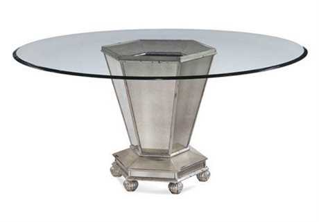 Bassett Mirror Hollywood Glam 60 x 60 Round Beige Reflections Dining Table