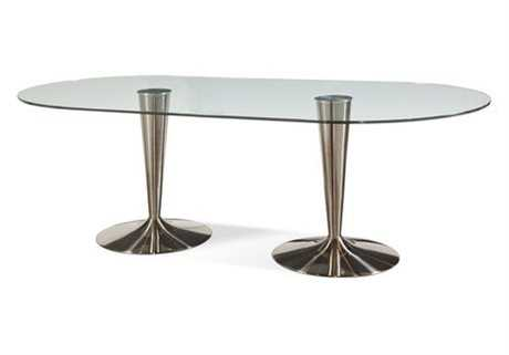 Bassett Mirror Thoroughly Modern 42 x 86 Oval Satin Concorde Dining Table