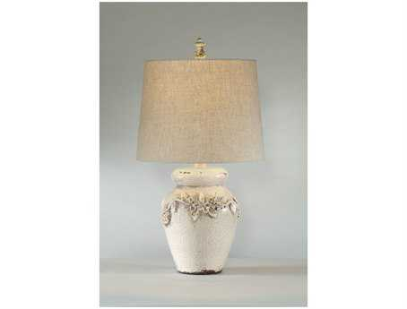 Bassett Mirror Eleanore Crackled Ivory Ceramic Table Lamp