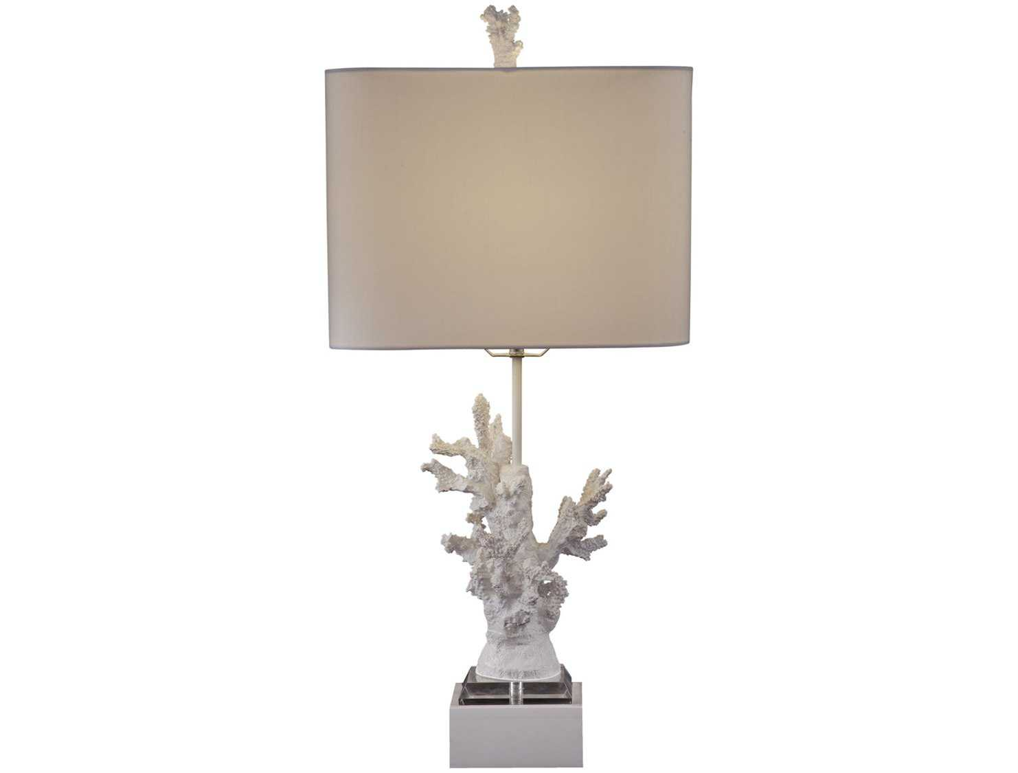 bassett mirror white coral high gloss white table lamp bal2667tec. Black Bedroom Furniture Sets. Home Design Ideas