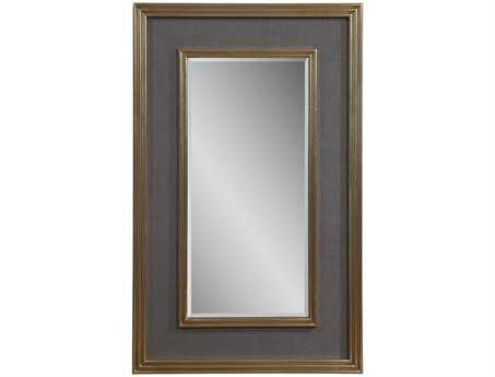 Bassett Mirror Hollywood Glam 30 x 48 Silver Leaf & Grey Linen Mulholland Wall Mirror