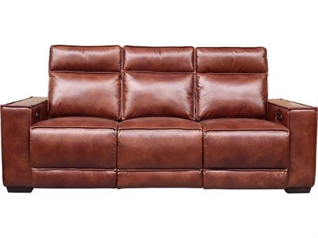 Barcalounger Casual Comfort Montrose Sherwood Tobacco Leather Power Reclining Sofa