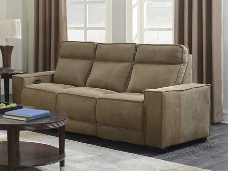 Barcalounger Casual Comfort Montrose Sanded Dark Bomber Leather Power Reclining Sofa