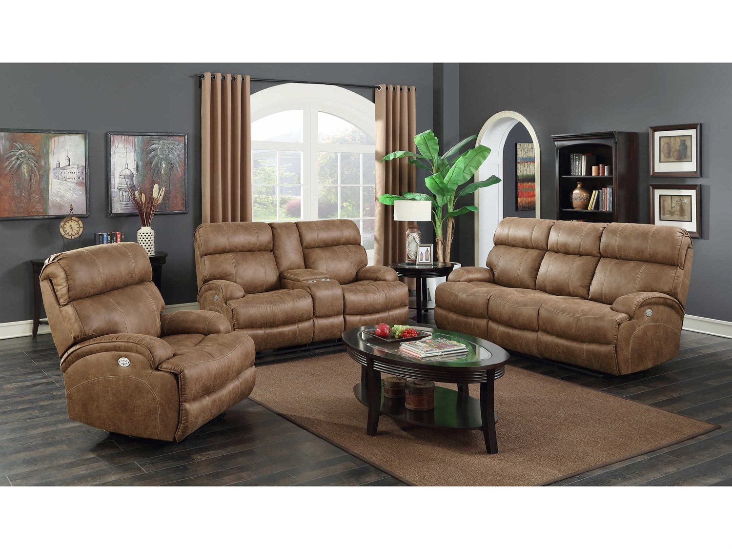 Barcalounger casual comfort barclay hughes brown power for Comfort living furniture