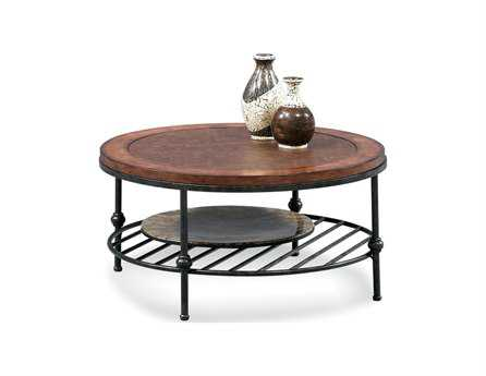 Bassett Mirror Old World 36 Round Tobacco & Pewter Bentley Cocktail Coffee Table