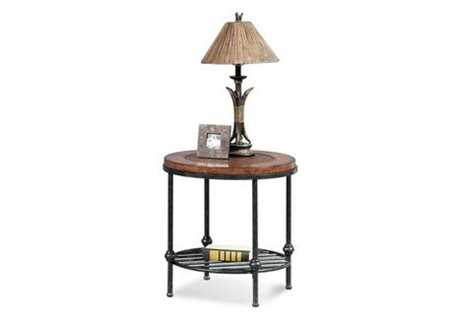 Bassett Mirror Old World 22 Round Tobacco & Pewter Bently End Table