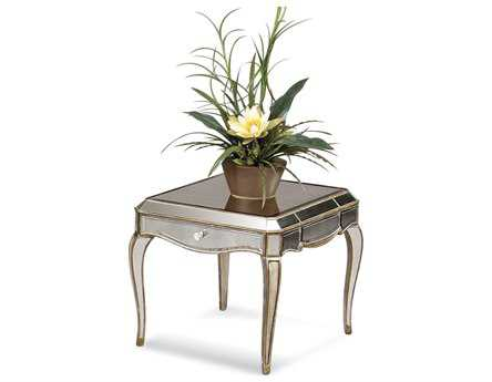 Bassett Mirror Hollywood Glam 28 x 25 Rectangular Antique Mirror Collette End Table