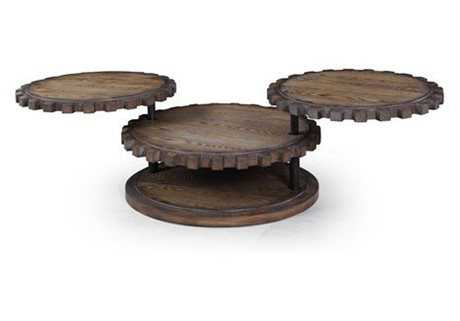 Bassett Mirror Belgian Modern 30 x 30 Round Weathered Oak Sprockets Cocktail Table