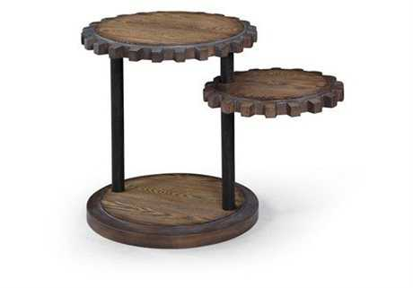 Bassett Mirror Belgian Modern 20 x 20 Round Weathered Oak Sprockets End Table