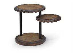 Bassett Mirror Belgian Modern 20 x 20 Round Weathered Oak Sprockets End Table