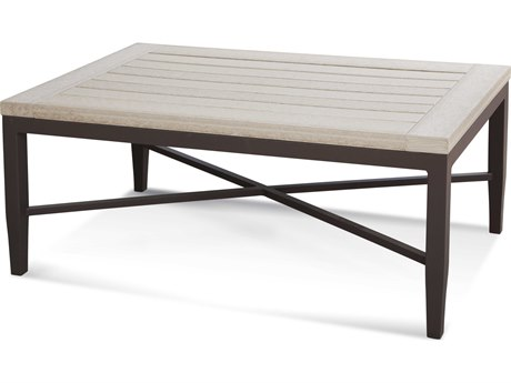 Braxton Culler Outdoor Luciano Antique Birch / Granite 42'' Wide Aluminum Resin Rectangular Coffee Table PatioLiving