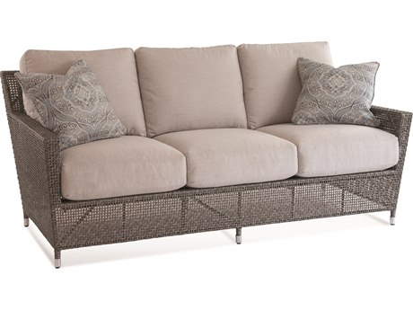 Braxton Culler Outdoor Edisto Pewter Wicker Cushion Sofa PatioLiving