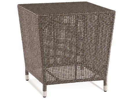 Braxton Culler Outdoor Edisto Pewter 21'' Wide Wicker Rectangular End Table PatioLiving