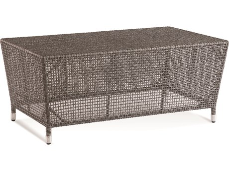 Braxton Culler Outdoor Edisto Pewter 39'' Wide Wicker Rectangular Coffee Table PatioLiving